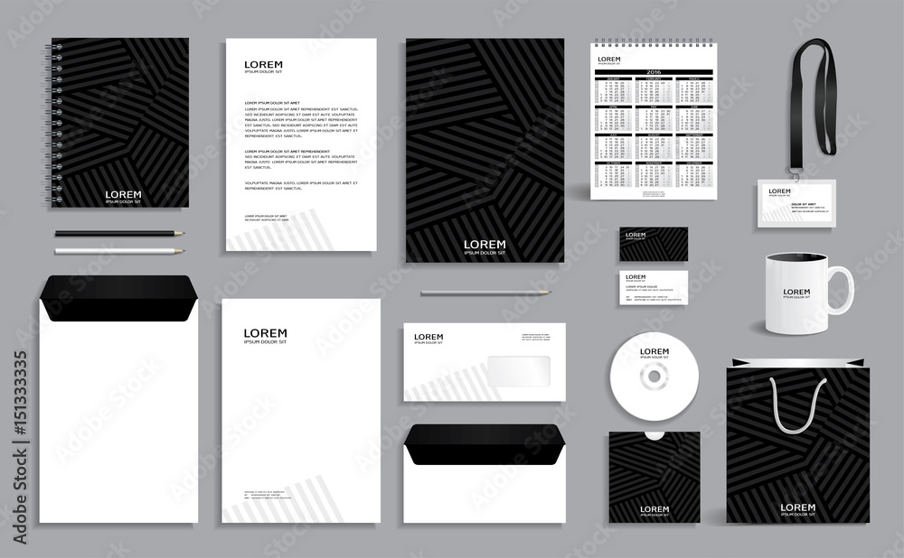 Fototapeta Black corporate identity design template with gray stripes background