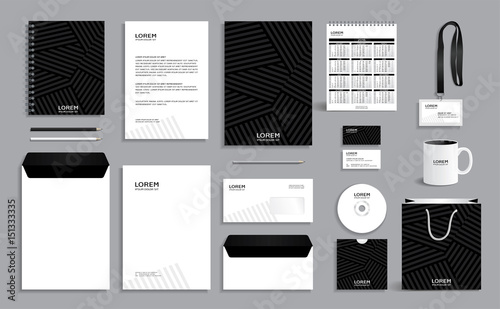 Photo  Black corporate identity design template with gray stripes background