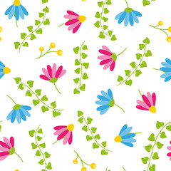 Floral spring seamless pattern with white background blooms and berries