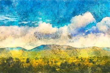 Fototapeta Landscape in Georgia, Kakheti. Painting watercolor.