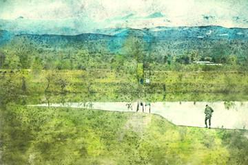 Fototapeta Landscape in Georgia, Kakheti highway. Painting watercolor.