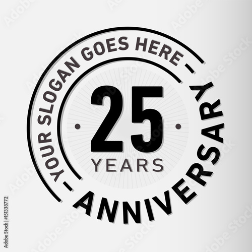 Canvas Print 25 years anniversary logo template. Vector and illustration.