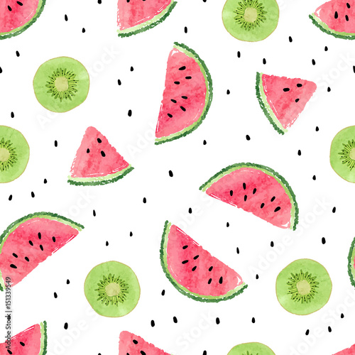 Cotton fabric Seamless pattern with kiwi fruit and watermelon slices. Summer background.