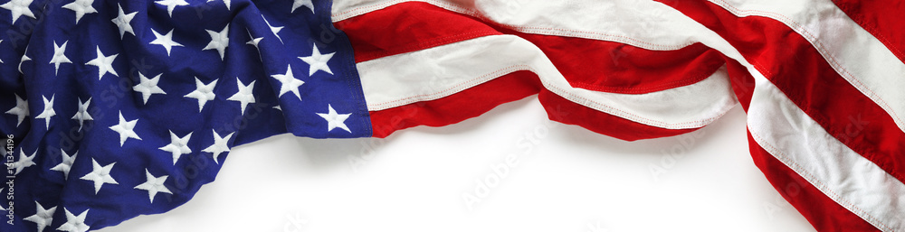 Fototapeta Red, white, and blue American flag for Memorial day or Veteran's day background