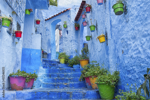 Deurstickers The beautiful medina of Chefchaouen, the blue pearl of Morocco