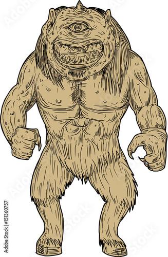 Photo  Cyclops Standing Drawing