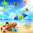 Summer holidays beach background with chair and umbrella