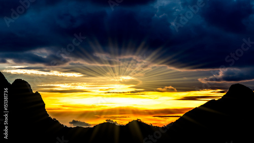 Foto auf Leinwand Gebirge Beautiful landscape , silhouette mountains and beautiful sky with sunray