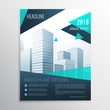 stylish blue business brochure design with geometric shapes in size A4