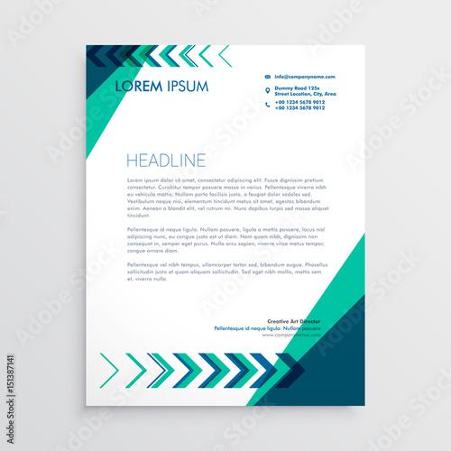 Fototapeta creative letterhead design with arrow in green and blue color obraz