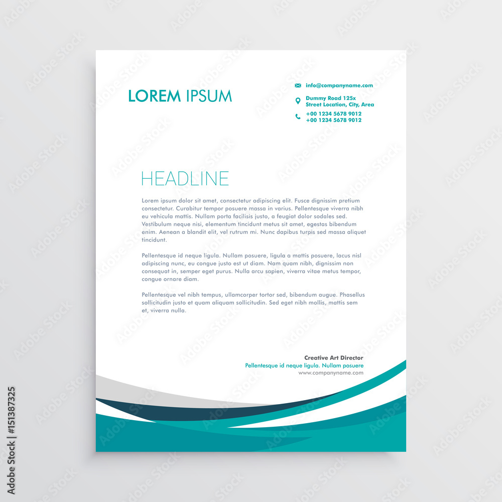 Fototapeta creative blue wave business letterhead design