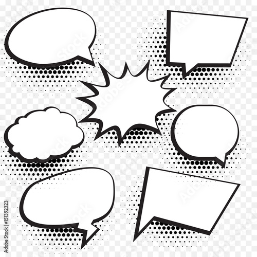 empty comic chat bubble and element background set with halftone effect Wall mural