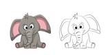 Fototapeta Fototapety na ścianę do pokoju dziecięcego - Illustration of a cute elephant, painted and contour