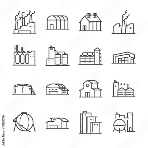 Fototapeta Factory and industrial vector line icon set. Included the icons as factory, silo, warehouse, workshop and more.  obraz