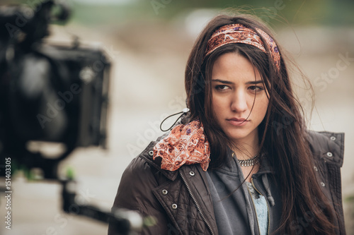 Fotografie, Tablou  Behind the scene. Actress in front of the camera