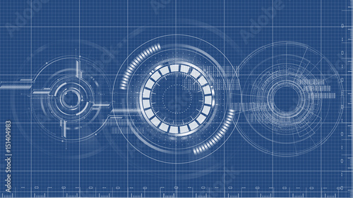 Fotografía  Technological blueprint technical drawing background vector