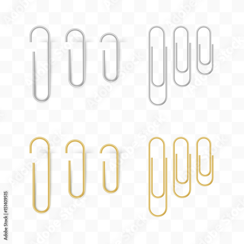 Photo  Realistic metal and gold paper clips set. Isolated and attached.