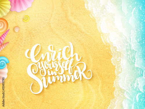 vector hand lettering summer inspirational phrase - enrich yourself in summer - Canvas-taulu