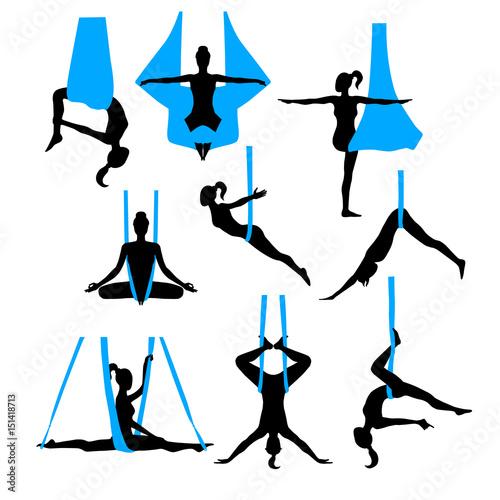 Aero yoga silhouettes Wallpaper Mural