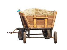 Rustic Trolley, One Vintage Wooden Cart With Hay And Sawdust, Isolate On White Background.