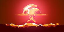 Nuclear Explosion. Cartoon Ret...