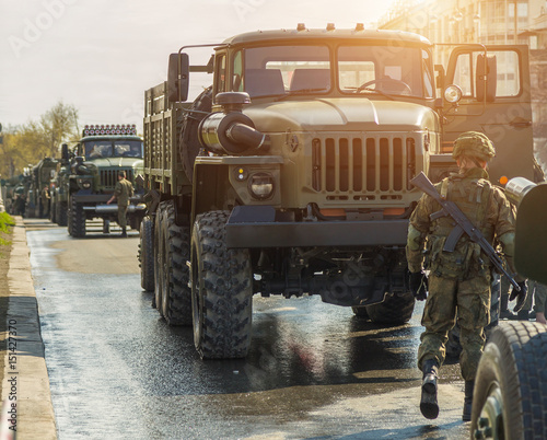 The military is preparing the equipment for the parade