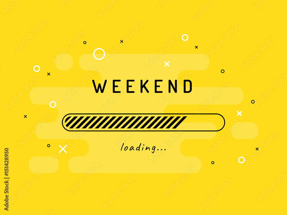 Fototapety, obrazy: Weekend loading - vector illustration. Yellow background.