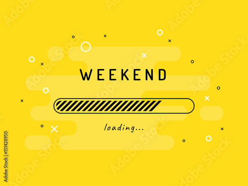 Cuadros en Lienzo Weekend loading - vector illustration. Yellow background.