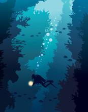 Scuba Diver And Coral Reef. Un...