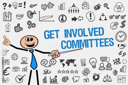 Fotografie, Obraz  Get Involved Committees / Mann mit Symbole