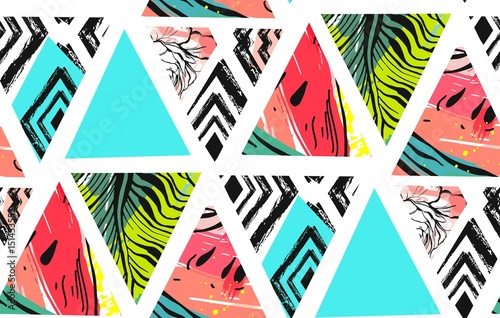 Obraz Hand drawn vector abstract summer time collage seamless pattern with watermelon,aztec and tropical palm leaves motif isolated.Unusual decoration for wedding,birthday,fashion fabric,save the date. - fototapety do salonu