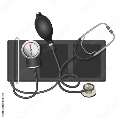 Photo Auscultatory method aneroid sphygmomanometer with stethoscope, bulb,