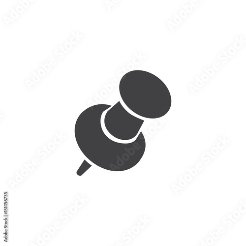 Fényképezés  Push pin icon in black on a white background. Vector illustration