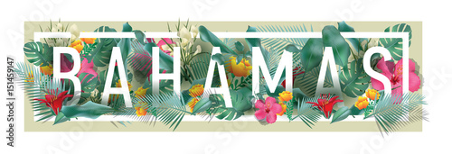 Photo vector floral framed typographic BAHAMAS city artwork