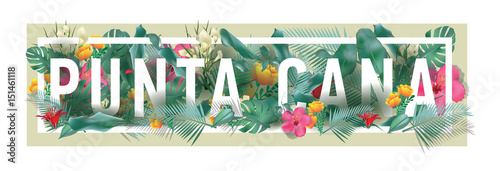 Photo  vector floral framed typographic PUNTA CANA city artwork