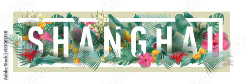 vector floral framed typographic SHANGHAI city artwork Poster