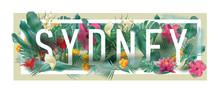 Vector Floral Framed Typographic SYDNEY City Artwork