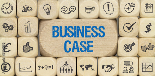 Valokuva  Business Case / Würfel mit Symbole