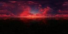 Dark Red Sunset In The Ocean