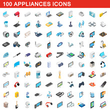 100 Appliances Icons Set, Isom...