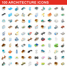 100 Architecture Icons Set, Isometric 3d Style