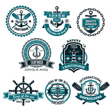 Vector Set Of Nautical And Mar...