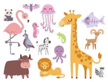 Cute Zoo Cartoon Animals Isola...