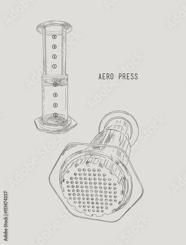 aero press coffee , sketch vector. Canvas Print