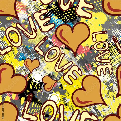 Zdjęcie XXL graffiti Walentynki bezszwowe tło grunge tekstur