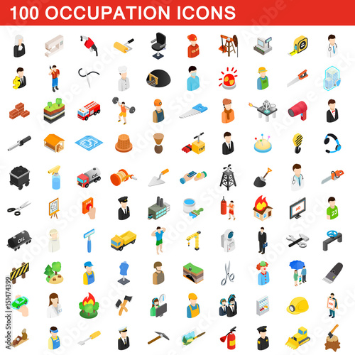 100 occupation icons set, isometric 3d style Wall mural