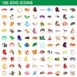 100 zoo icons set, cartoon style