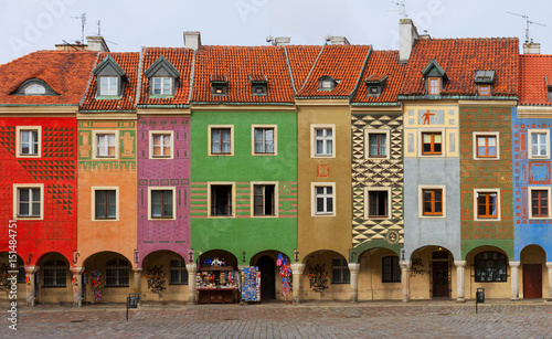 view of crooked medieval houses on the central market square in Poznan, PolandPoznan, Poland © neirfy