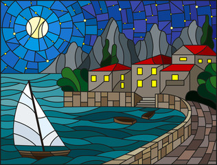 Naklejka The illustration in stained glass style painting with a sailboat on the background of the Bay with city, sea and starry sky and moon