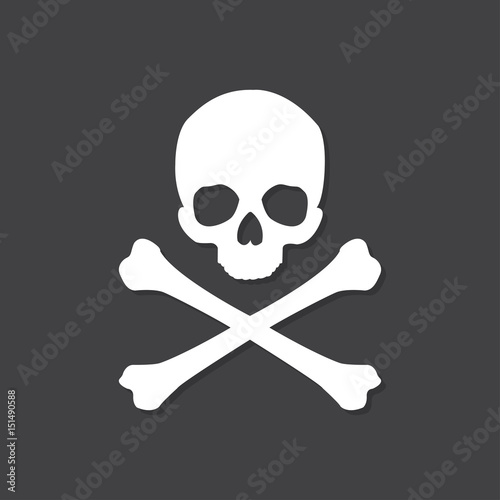 фотография Skull and crossbones icon with shadow in a flat design on a black background